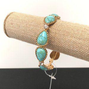 Teardrop turquoise gold bracelet w/rhinestones